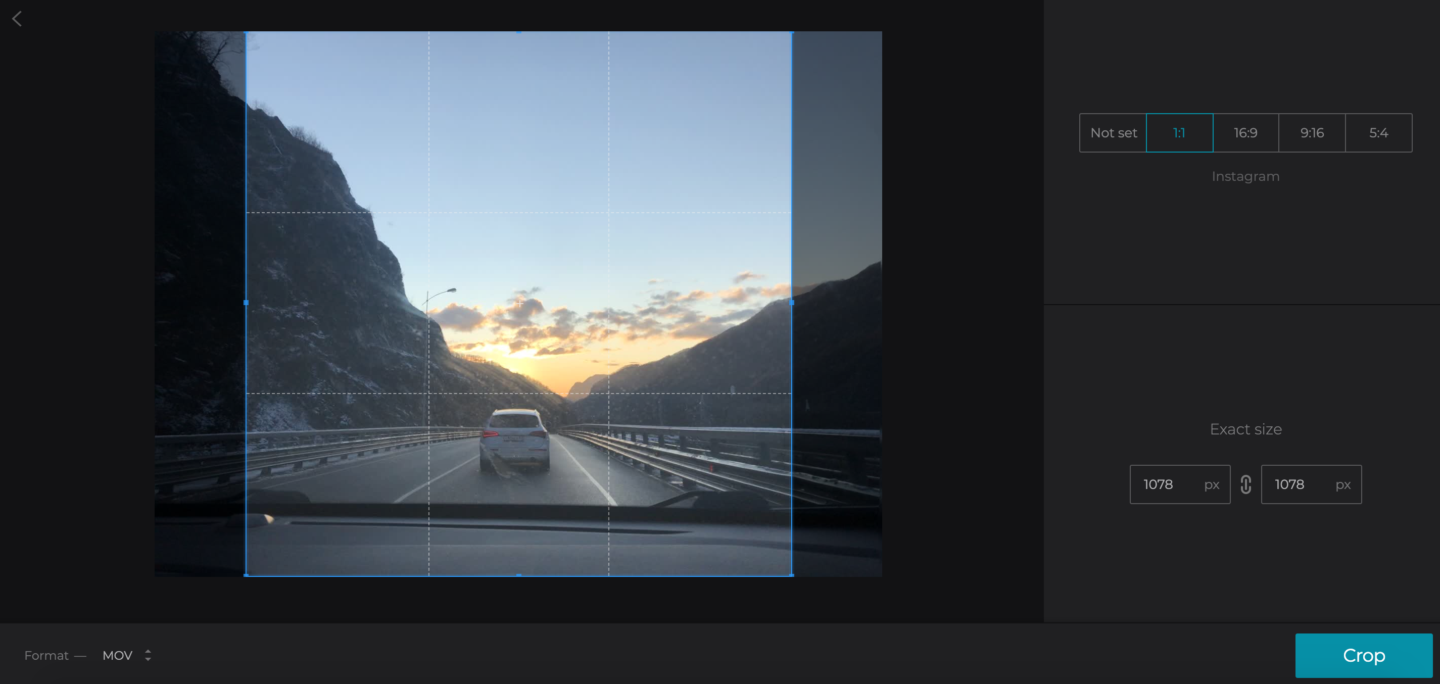Crop video for Instagram by choosing aspect ratio
