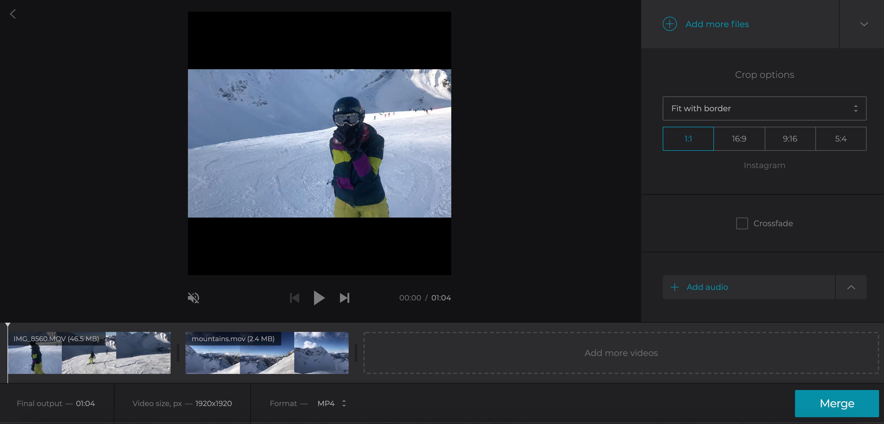 Adjust and merge the uploaded videos