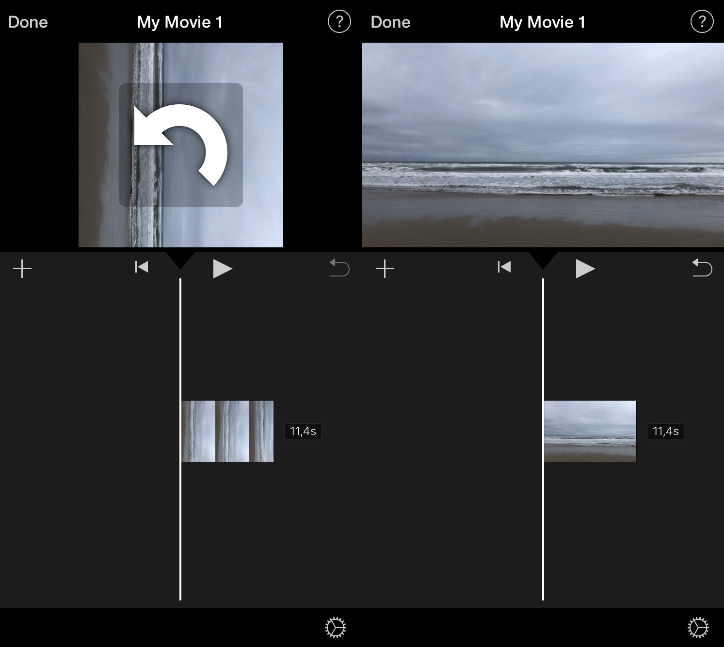 Rotate video in iMovie on iPhone with a twist of two fingers