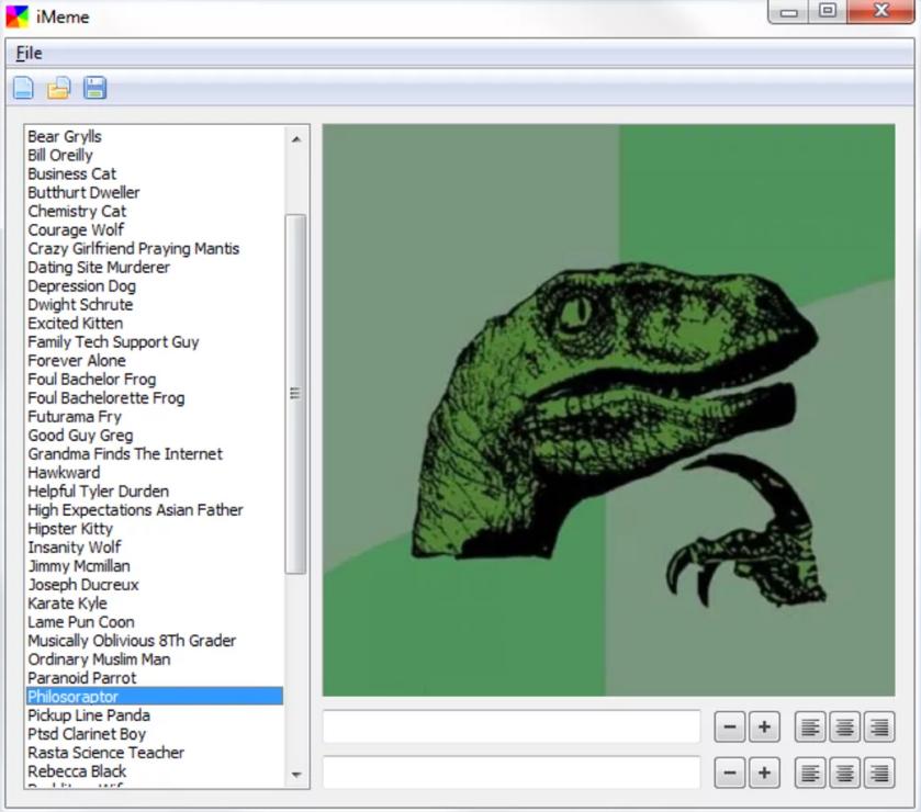 Desktop menu of the iMeme meme maker