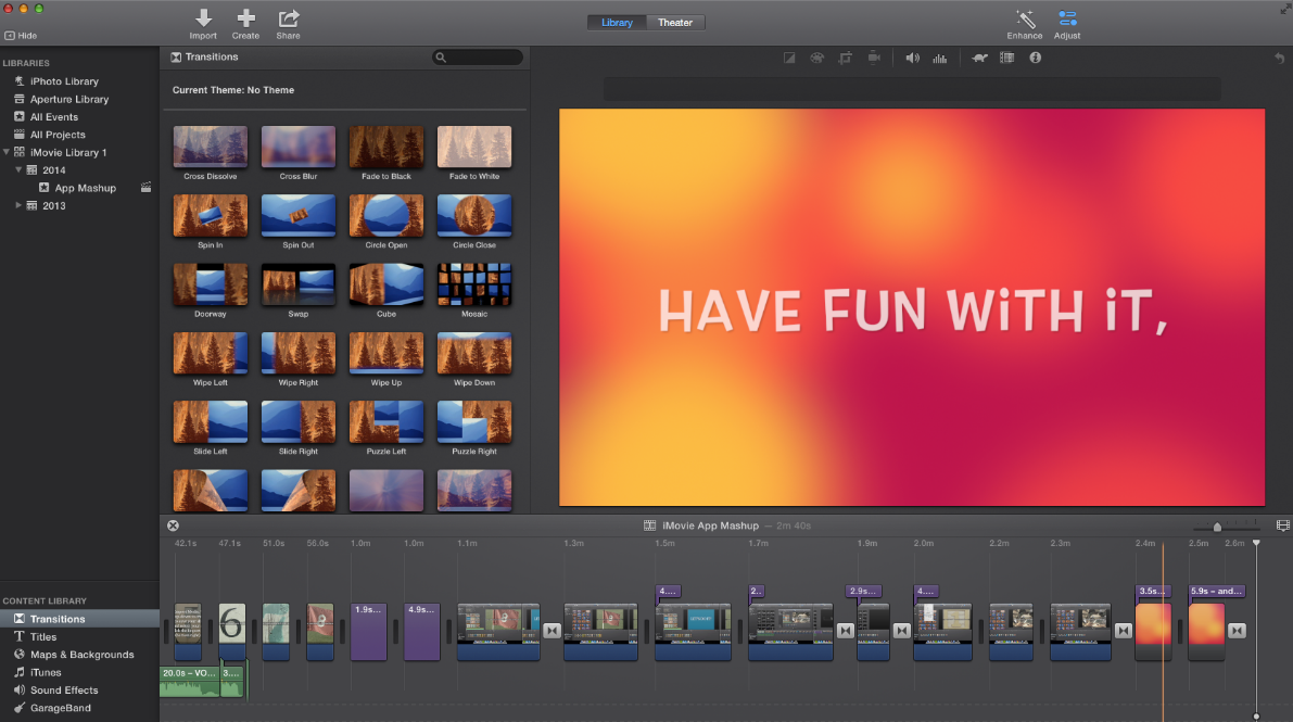 Interface of iMovie compared to Final Cut Pro