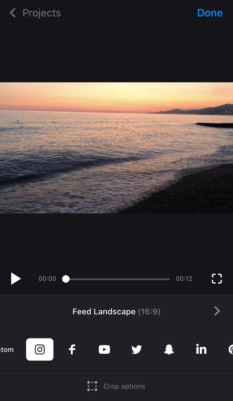 Pick social media preset in Crop Video App