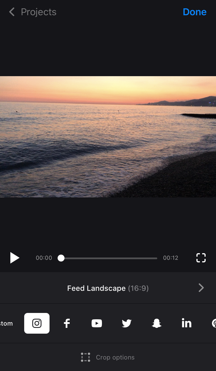 Select social media icon in Cropping Video App