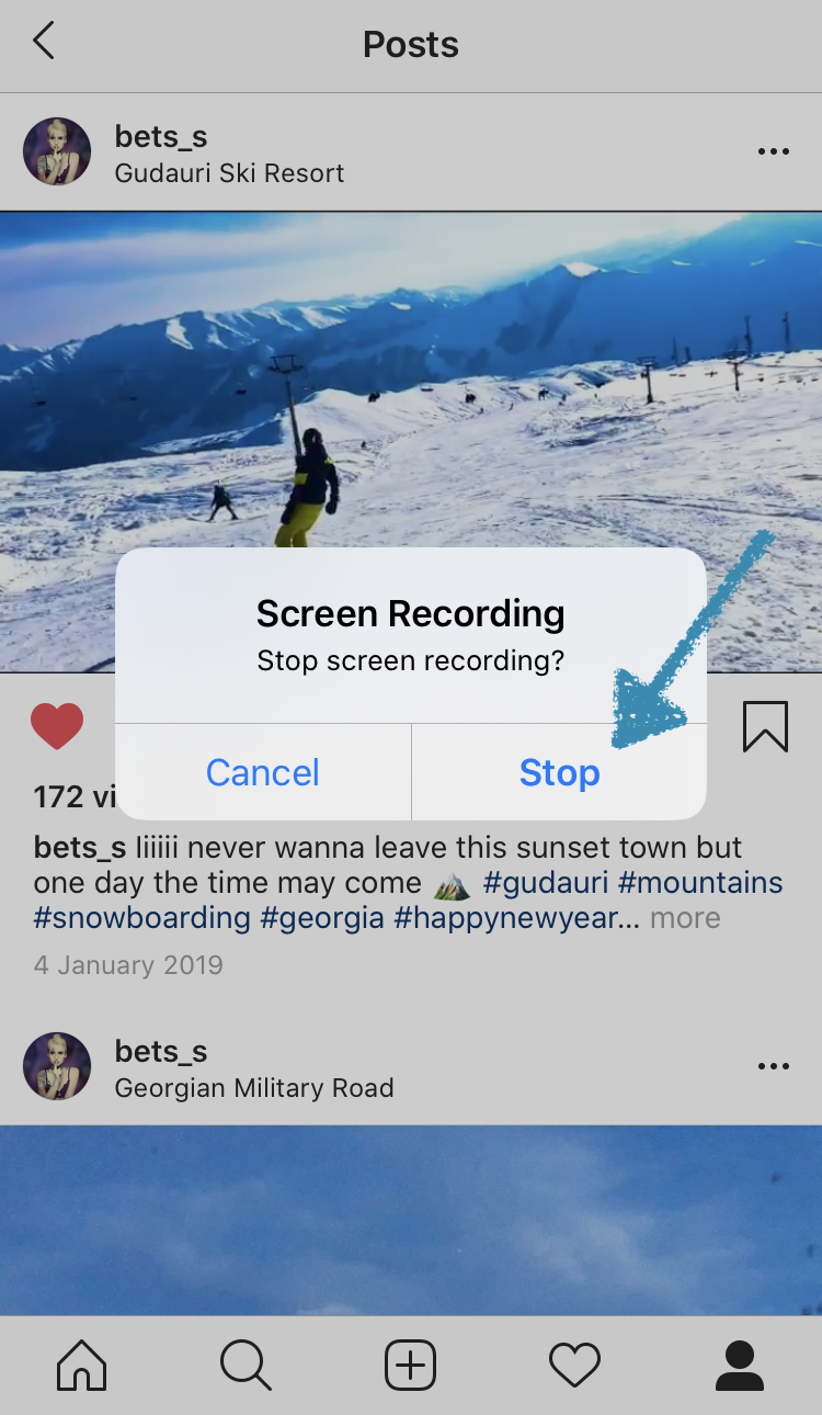 Stop recording to save the Instagram video