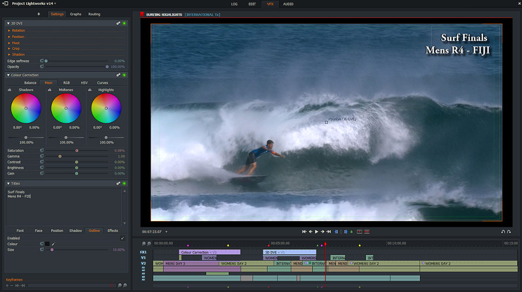 Menu of the professional video editing software Lightworks
