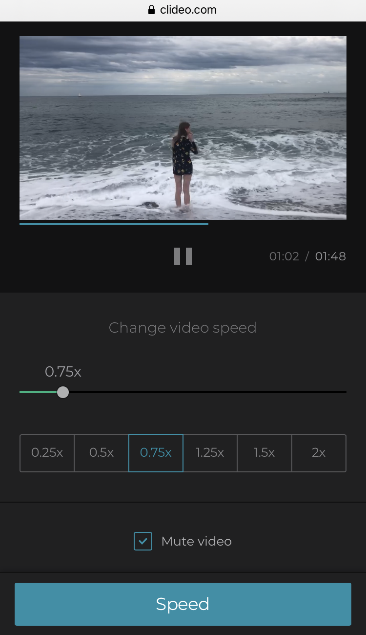 Make slow motion video for Instagram by selecting the speed