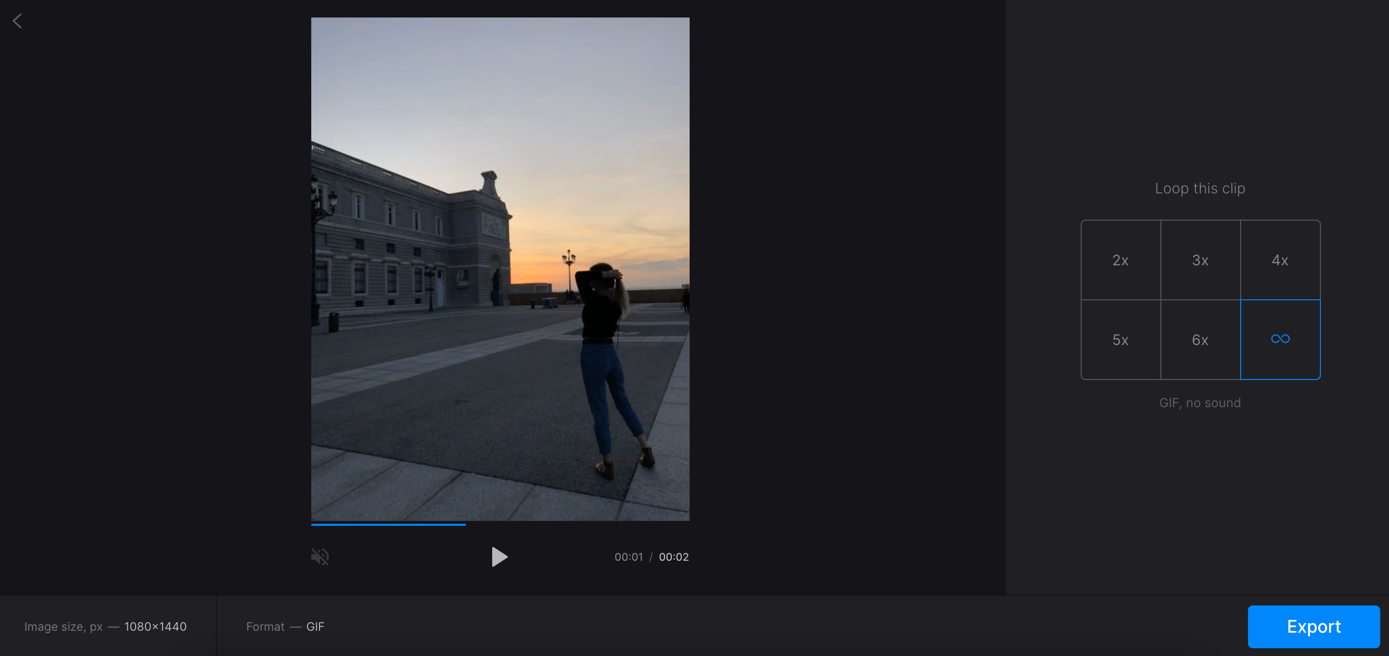 Make GIF from video clip with Clideo