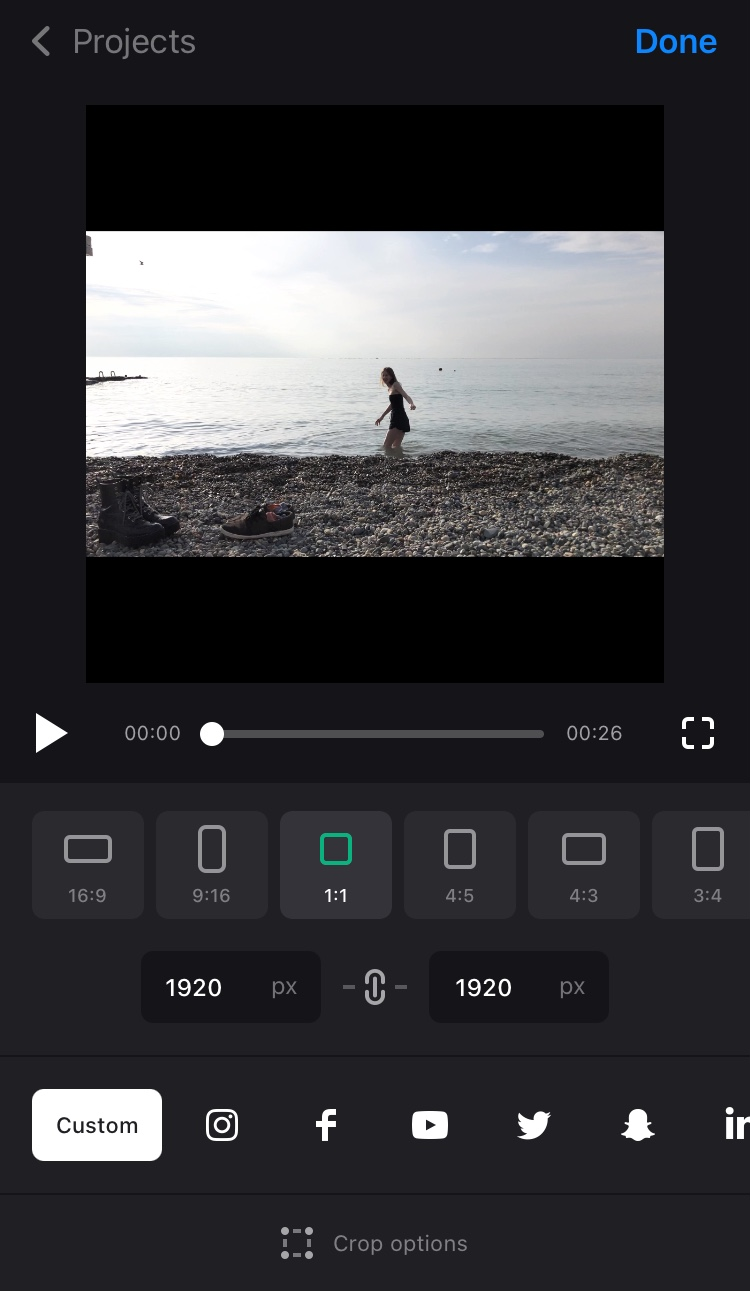 Choose 1:1 in Clideo's square video app