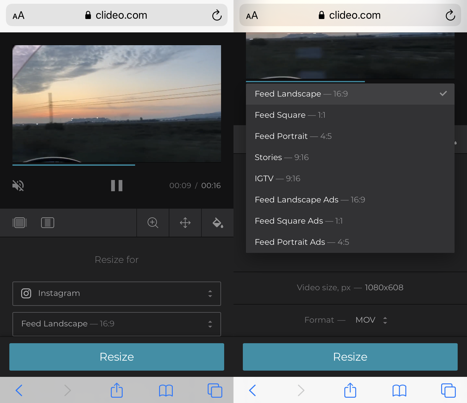 Choose a preset to make the video fit Instagram size