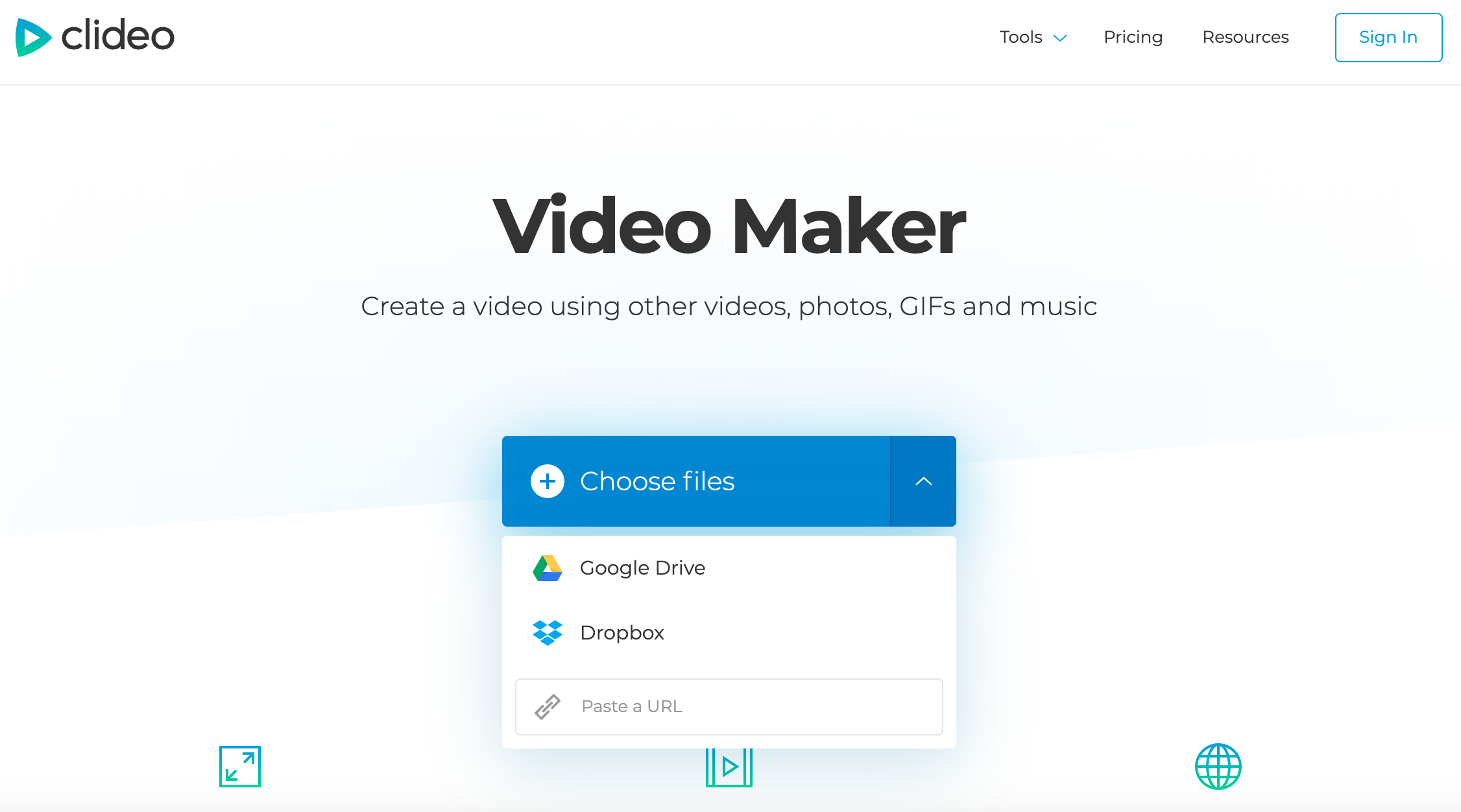 Add files to create a video for YouTube