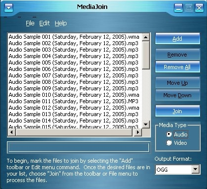 Menu of the free and easy video joiner MediaJoin