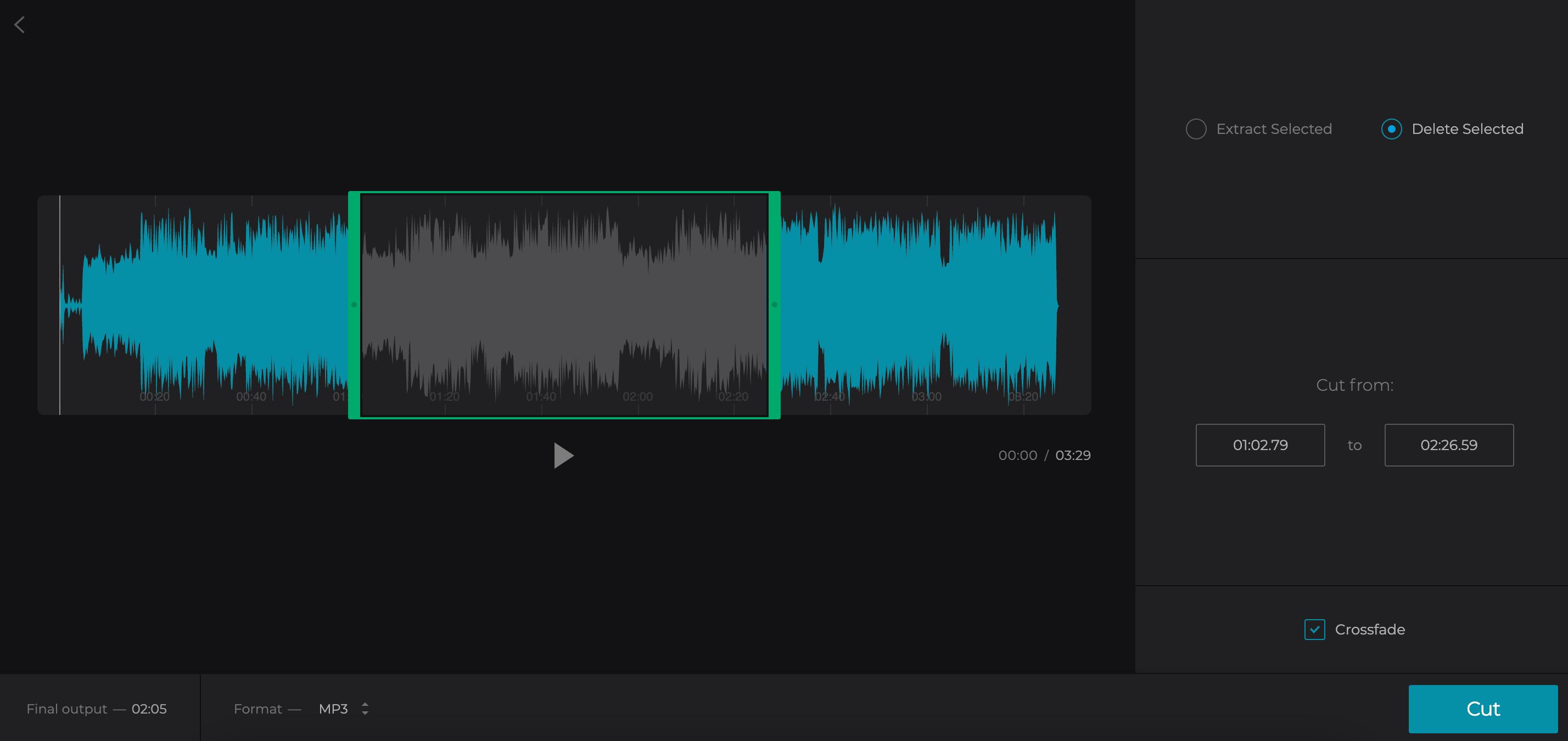 Cut out part of song extracted from MP4