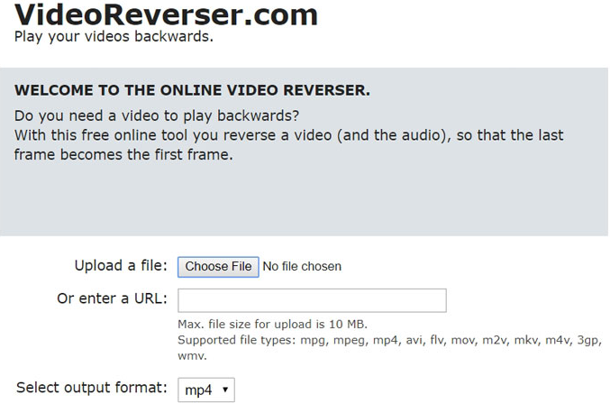 Simple features of Online video reverser