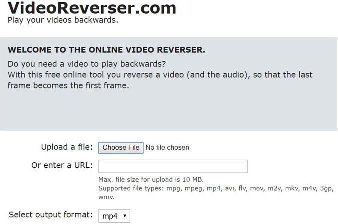 Simple features of Online video reverser