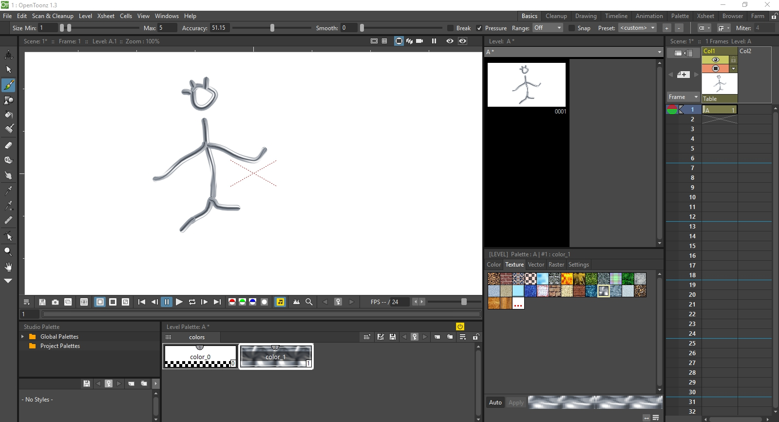 Menu of the free 2D animation software Opentoonz