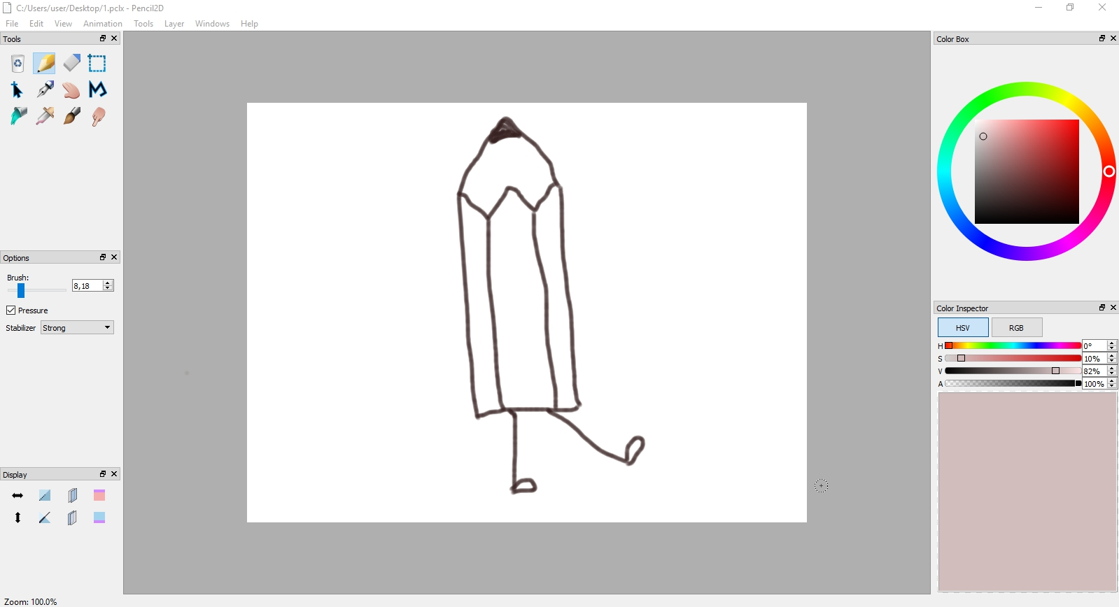 Interface of the Pencil software for 2D animation