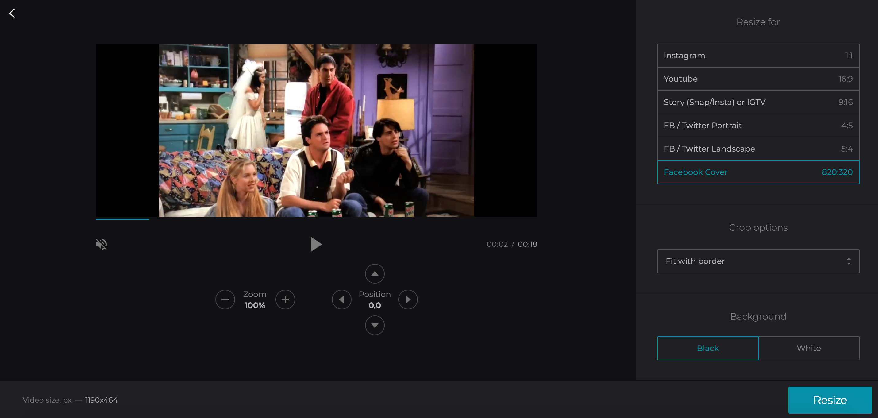 Resize video to create Facebook cover