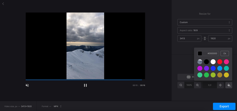 Resize vertical video to make it horizontal