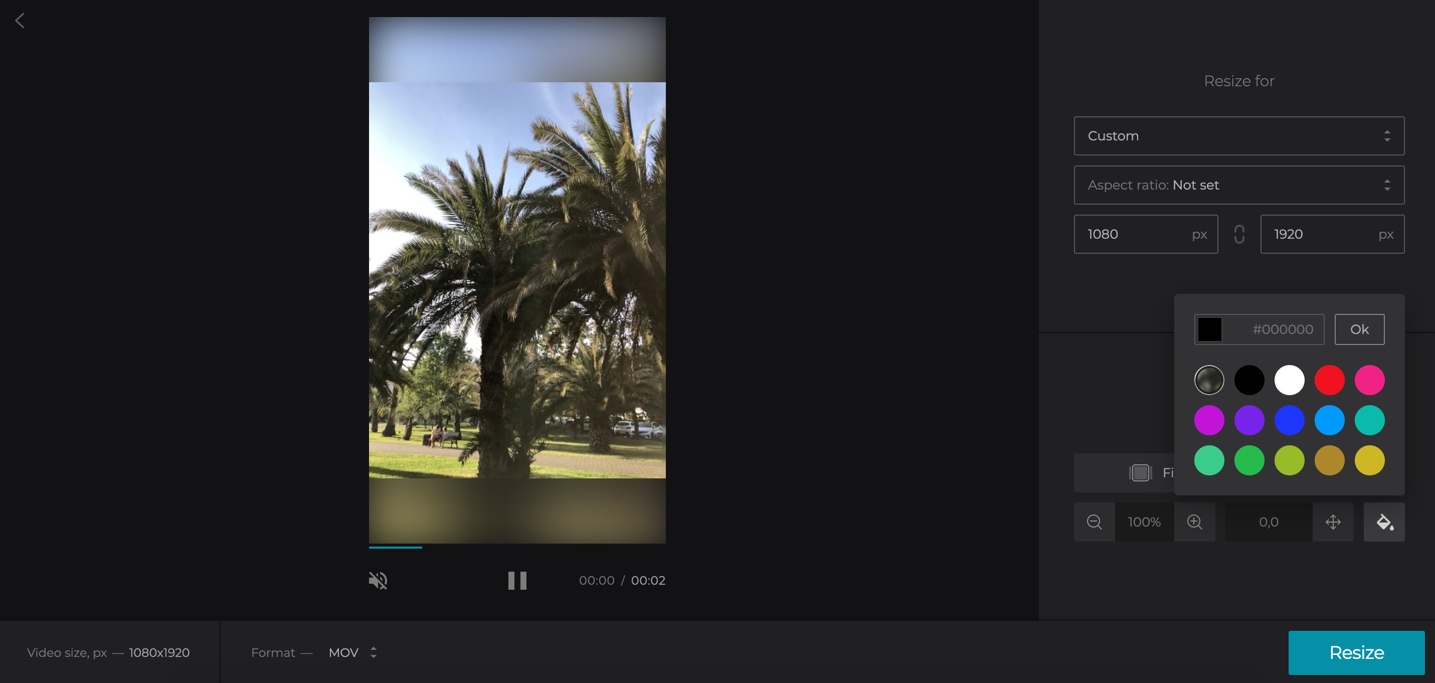 Change size of TikTok video