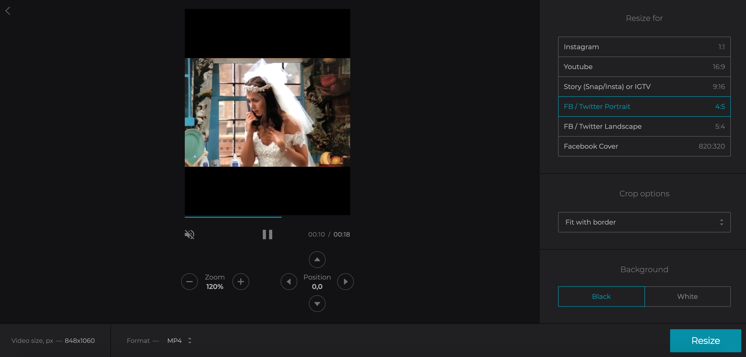 Select the necessary option to resize video for Twitter