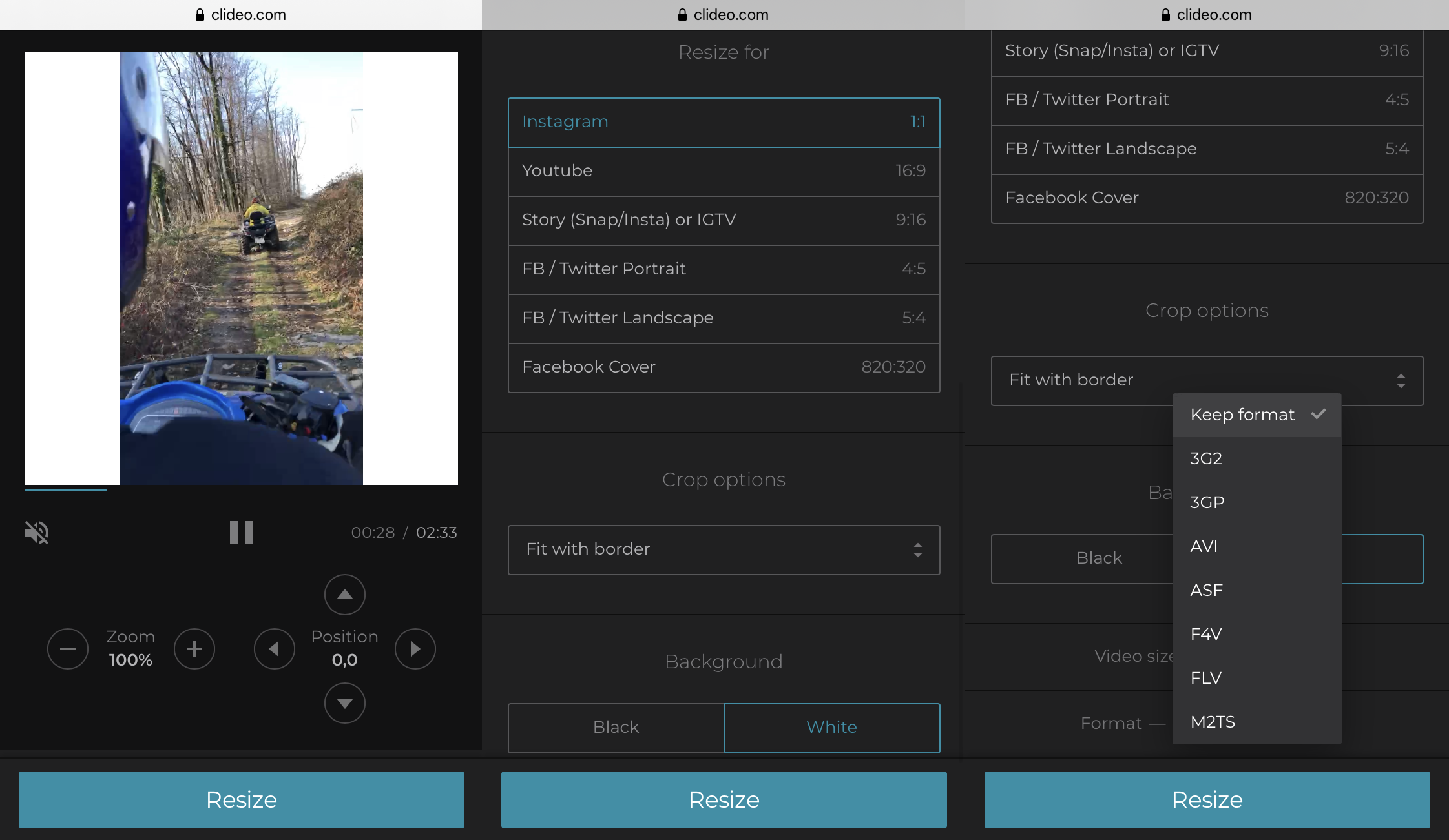Resize video to fit Instagram by choosing 1:1 option
