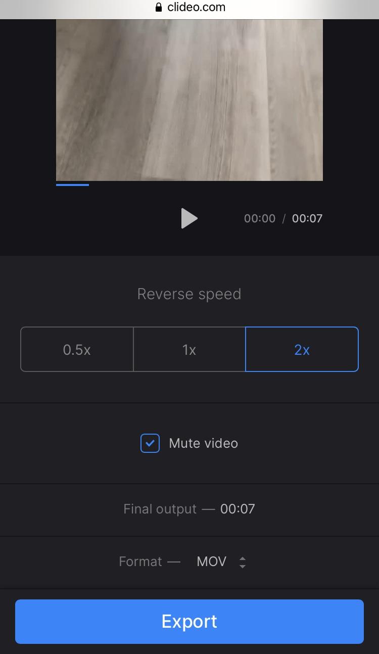 Reverse TikTok video online using Clideo