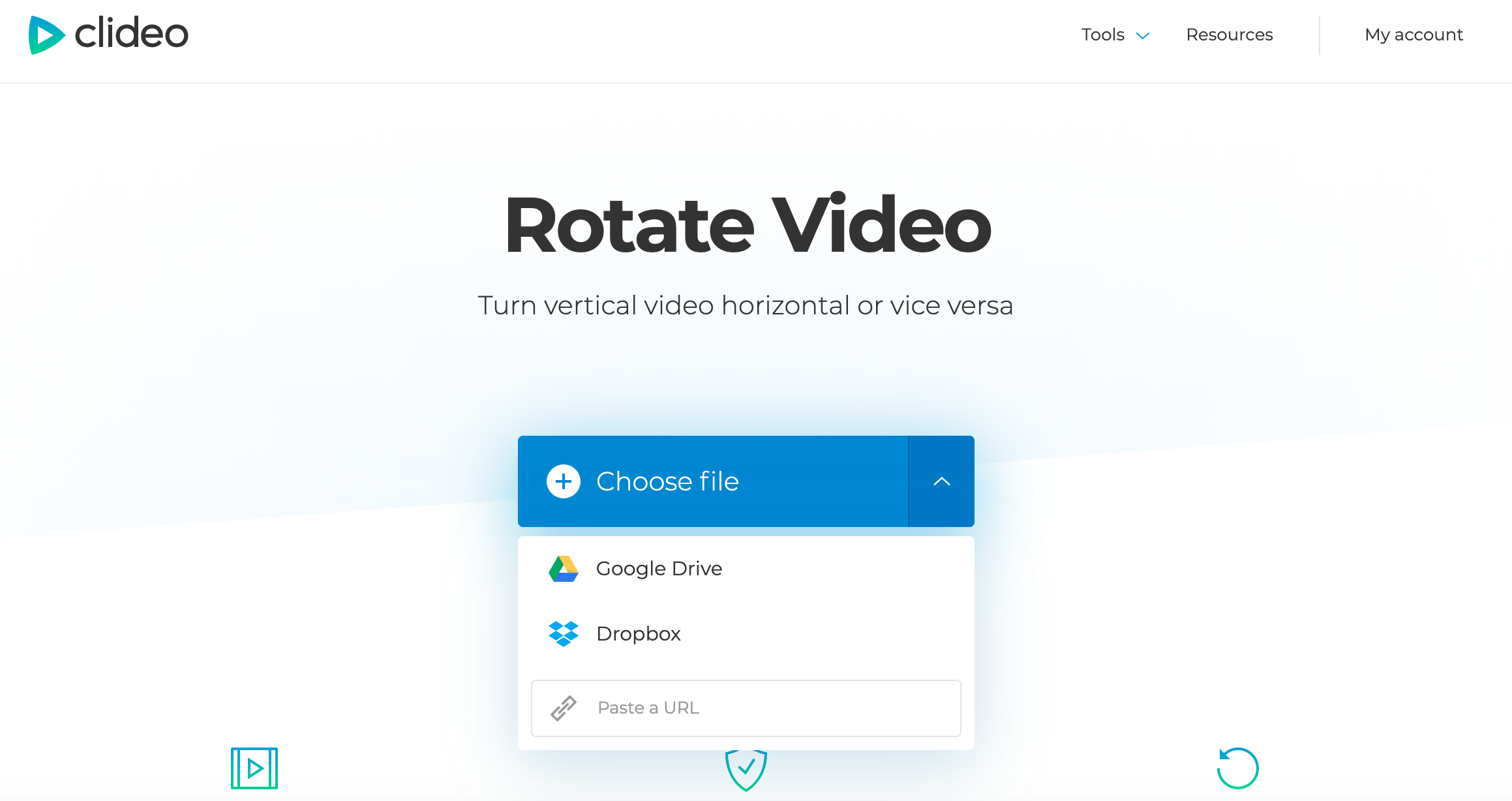Upload an MP4 video you want to rotate
