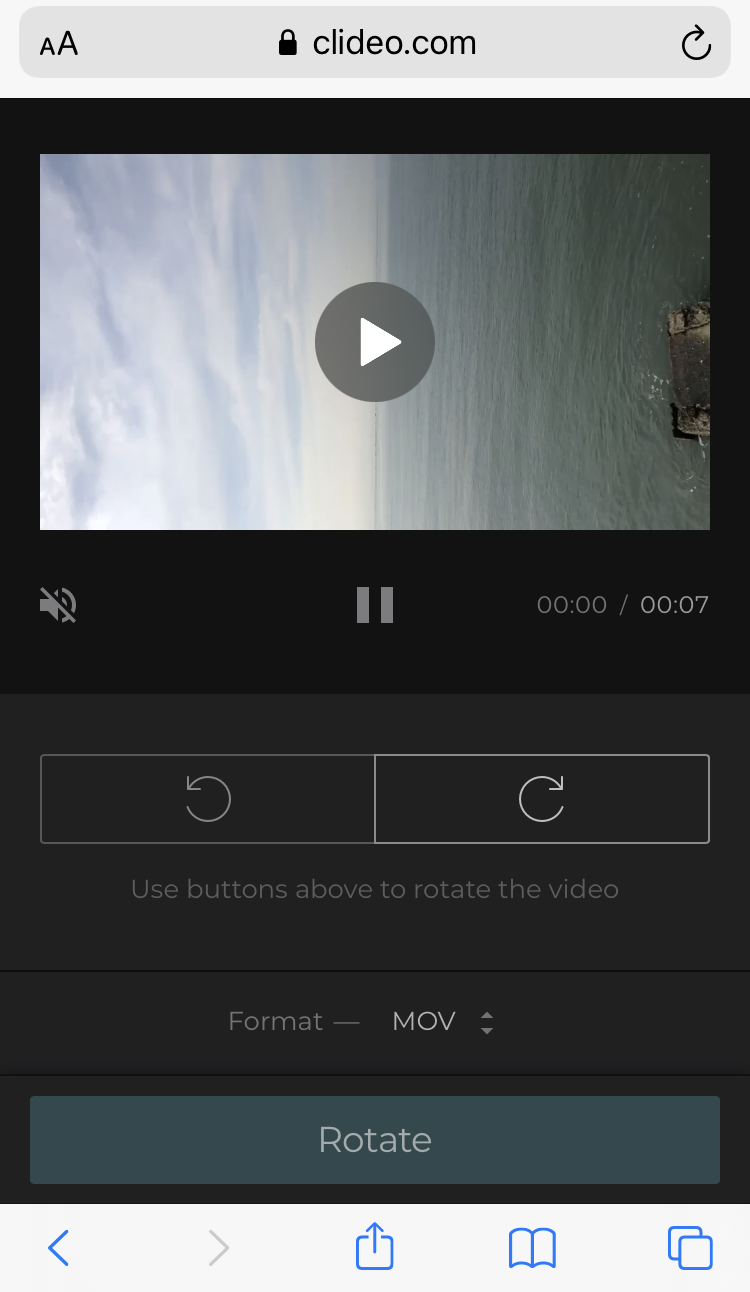Rotate video on Samsung with Clideo