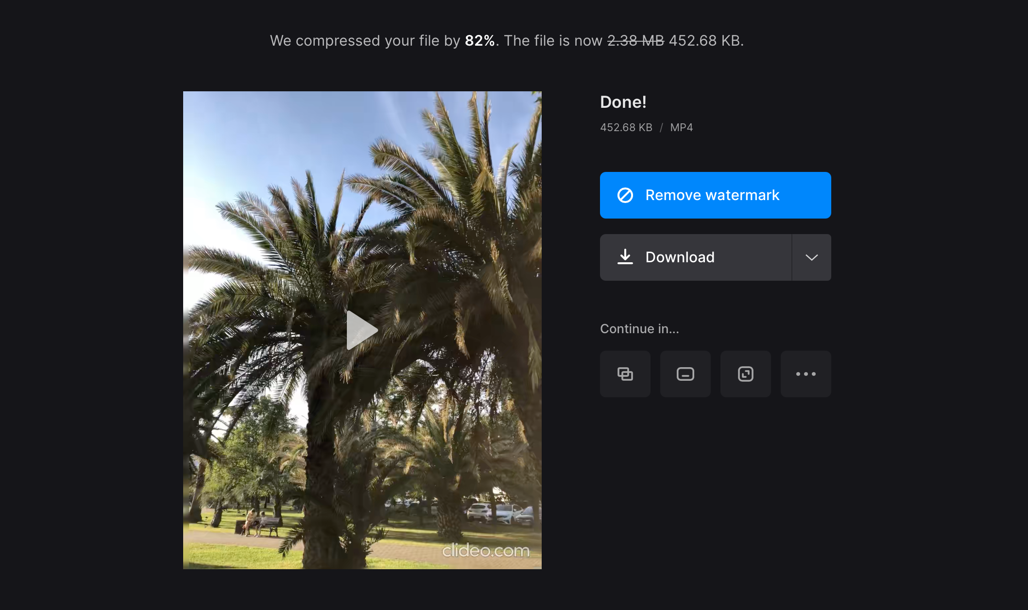Download video compressed for text message
