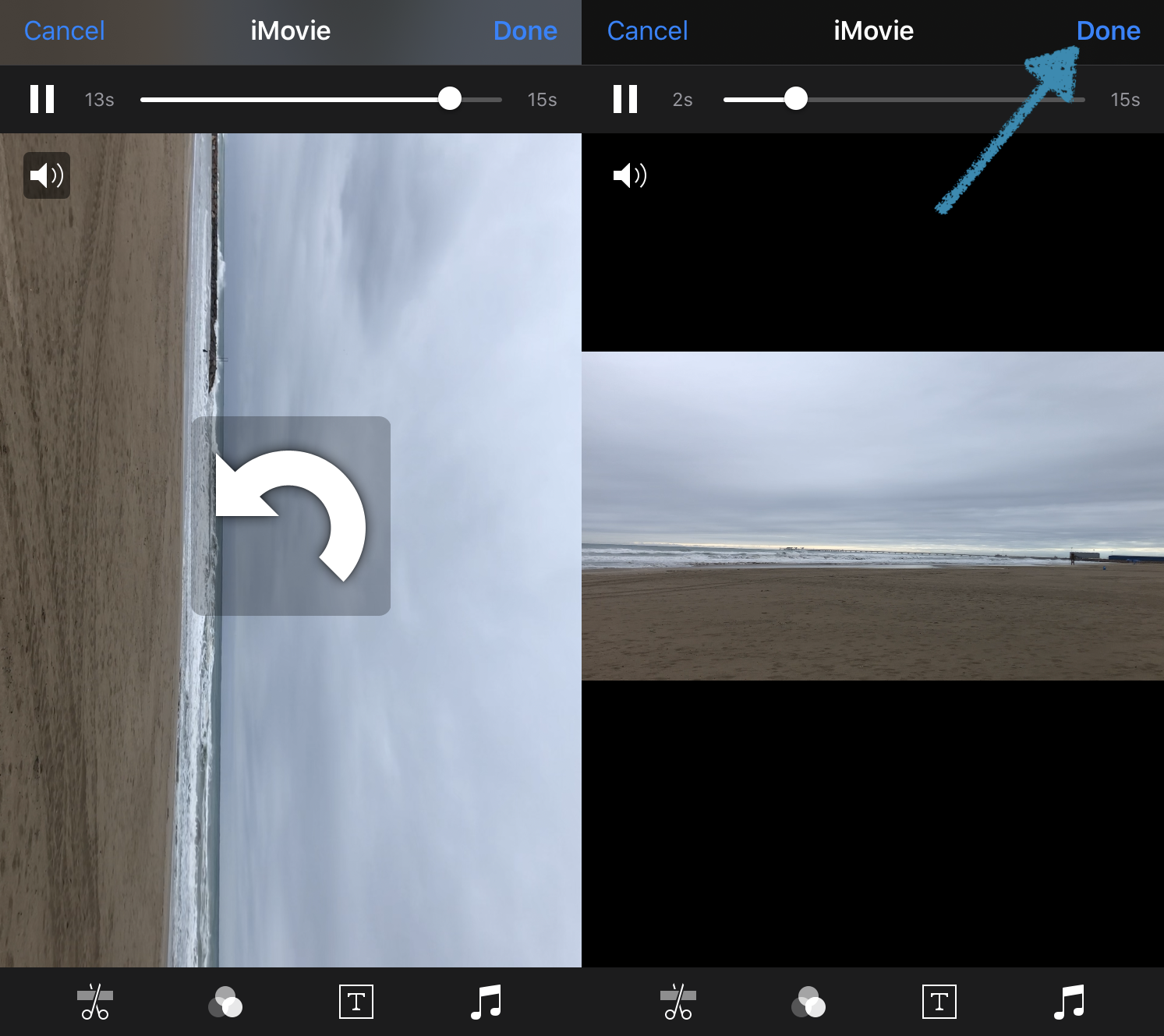 Save the flipped iPhone video from iMovie