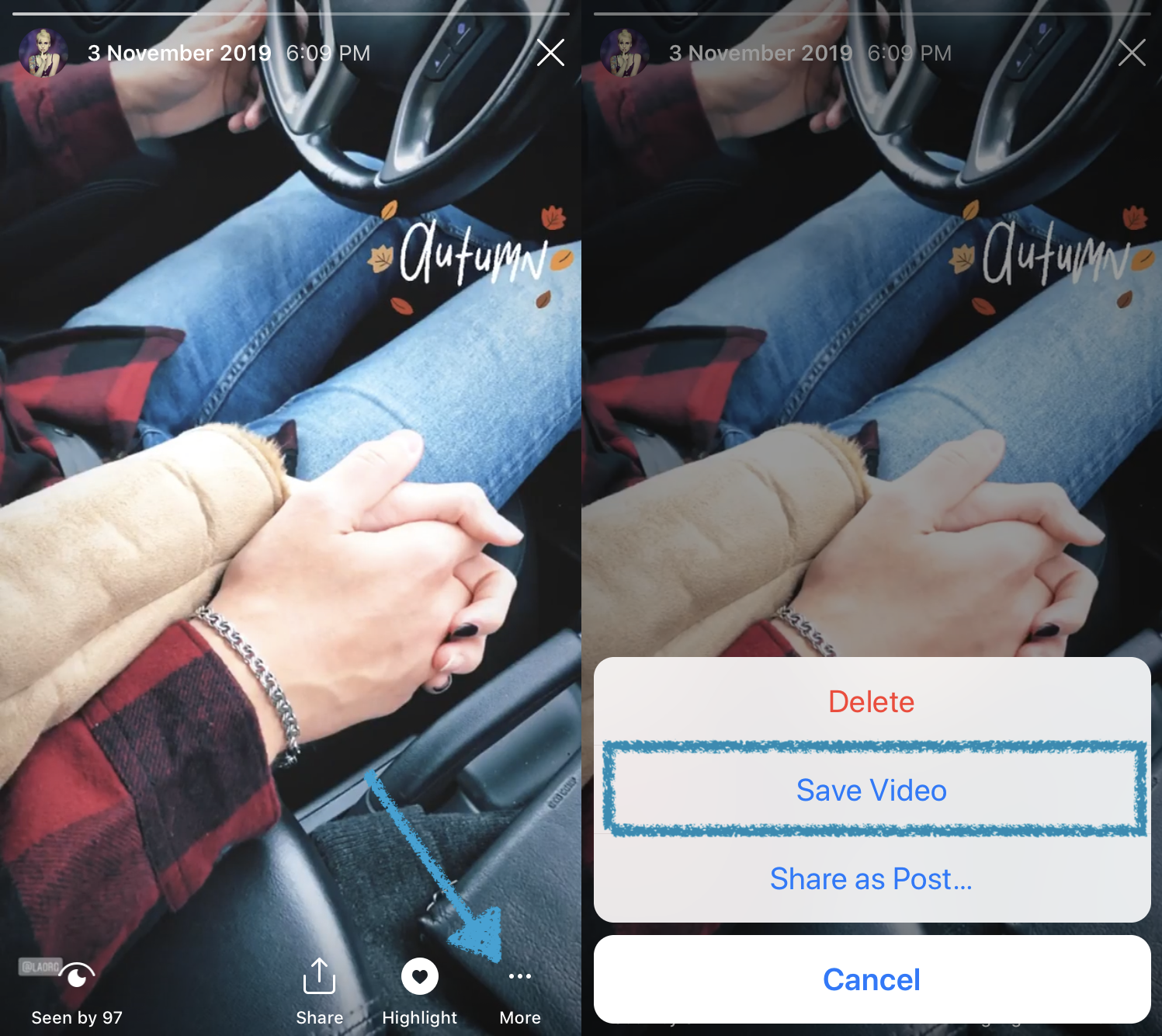 Save an Instagram Story with one click