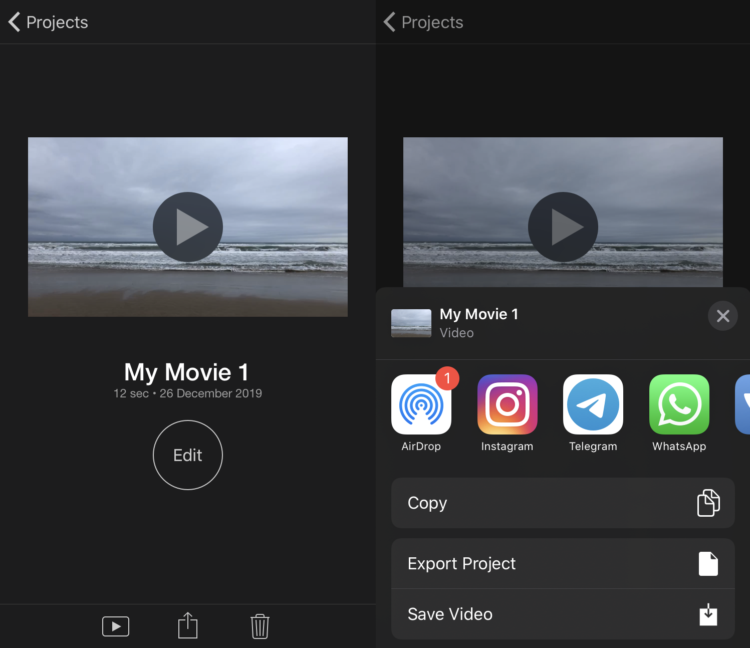 Download the rotated video from iMovie to iPhone