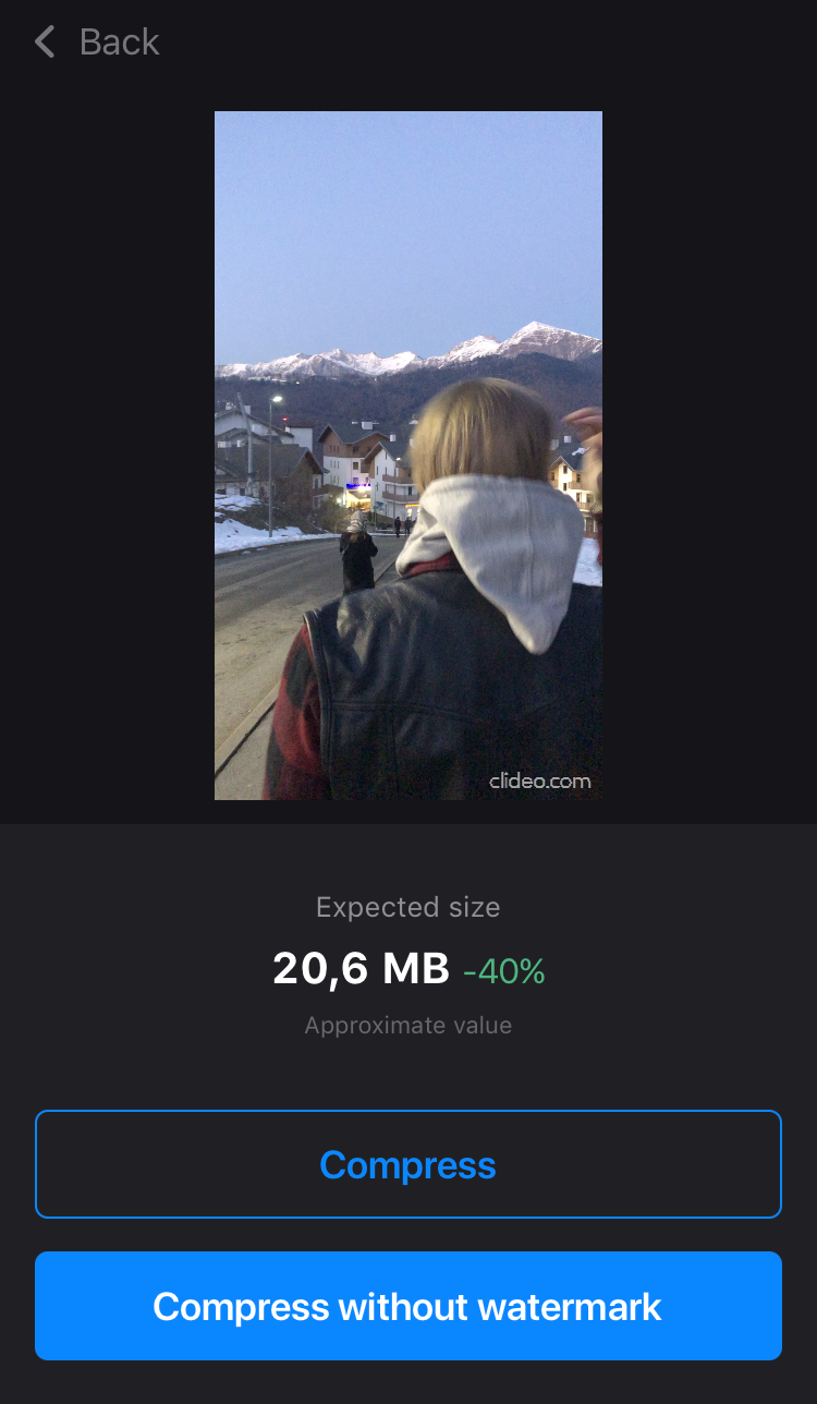 Download video from compression app