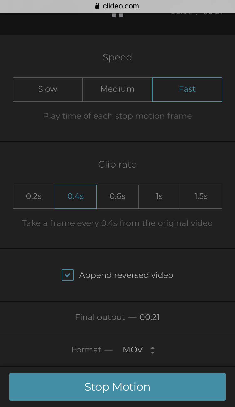 Select clip rate for stop motion video on iPhone