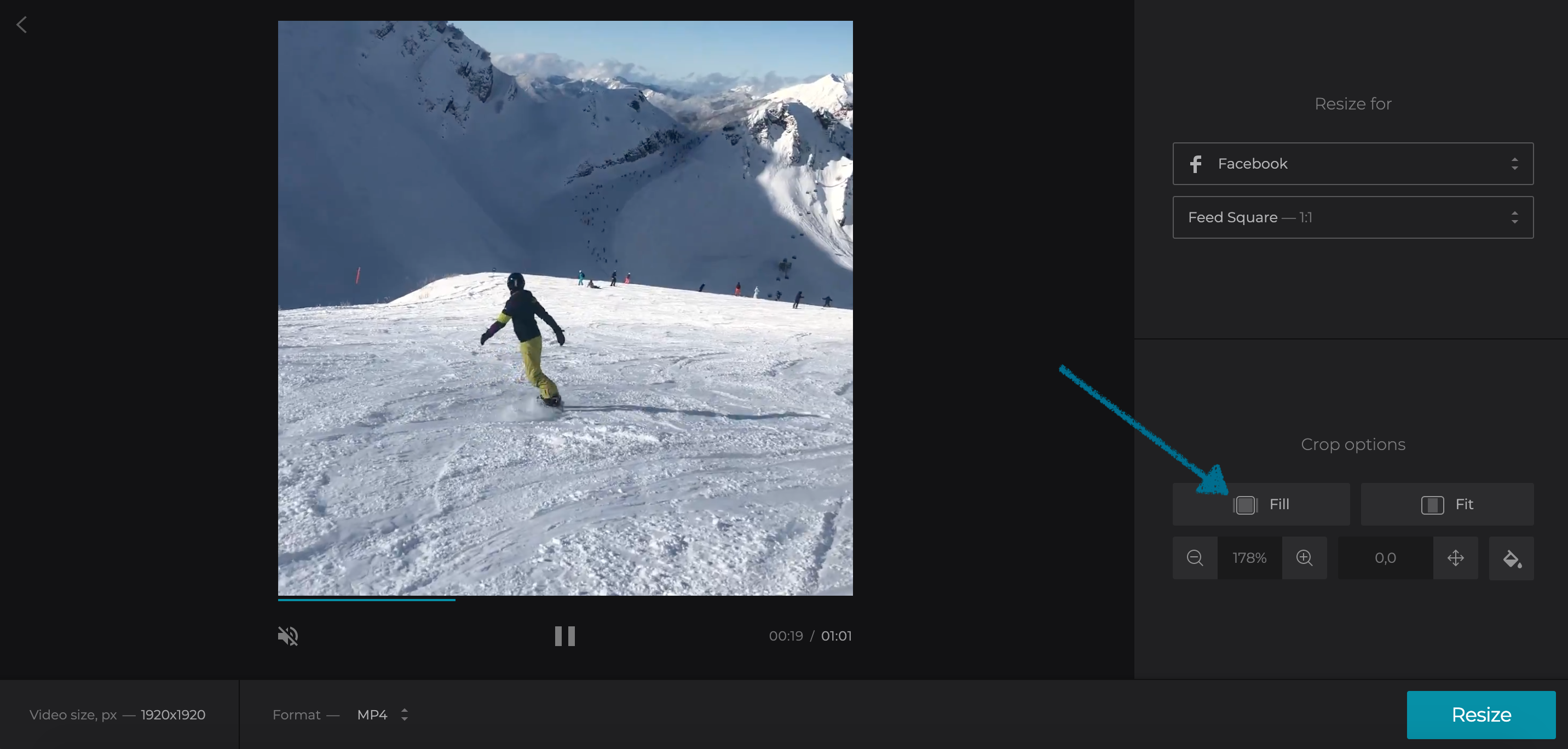 Select a crop option for resized video