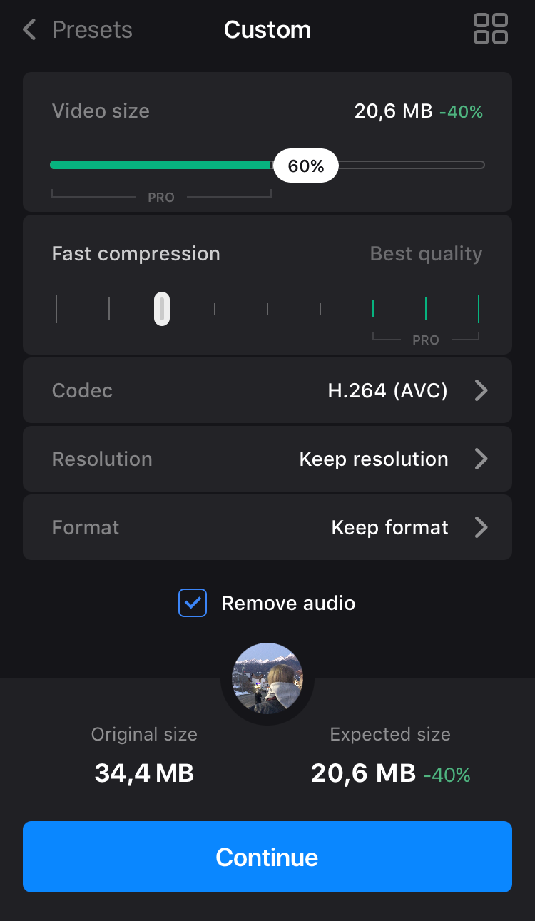 Choose Custom in compress video app