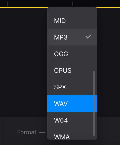 Change format for video converted from audio