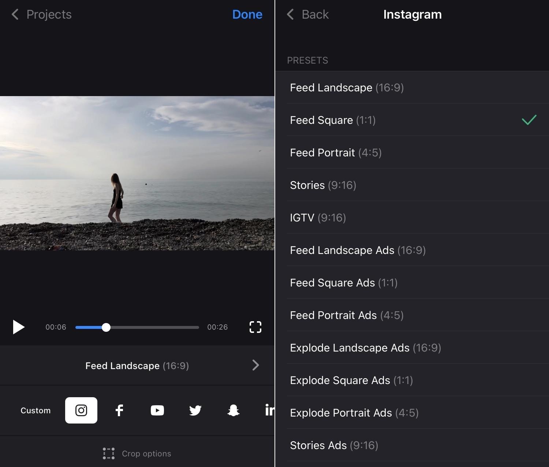 Choose Instagram preset in square video app