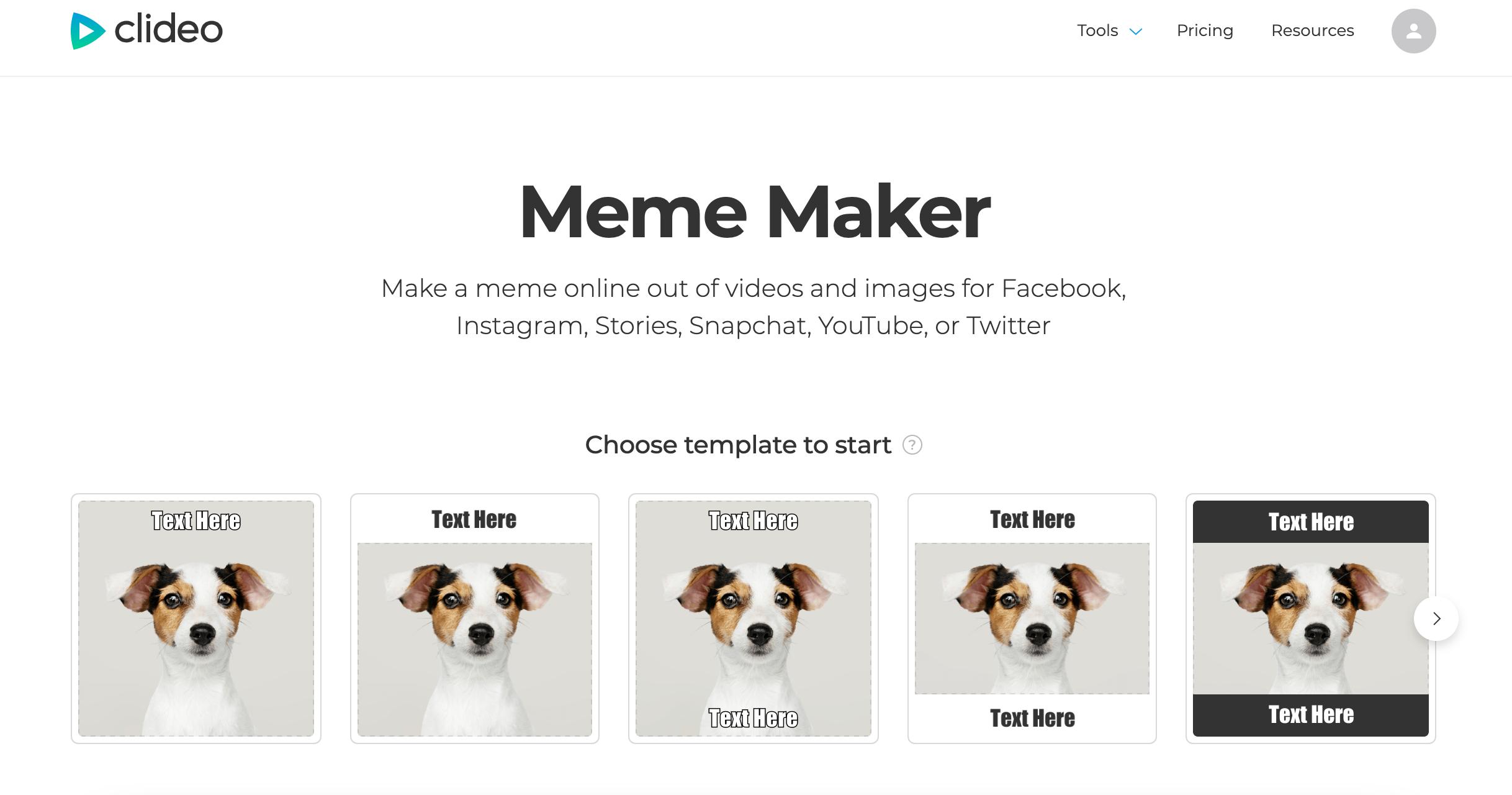 Choose template for Instagram meme