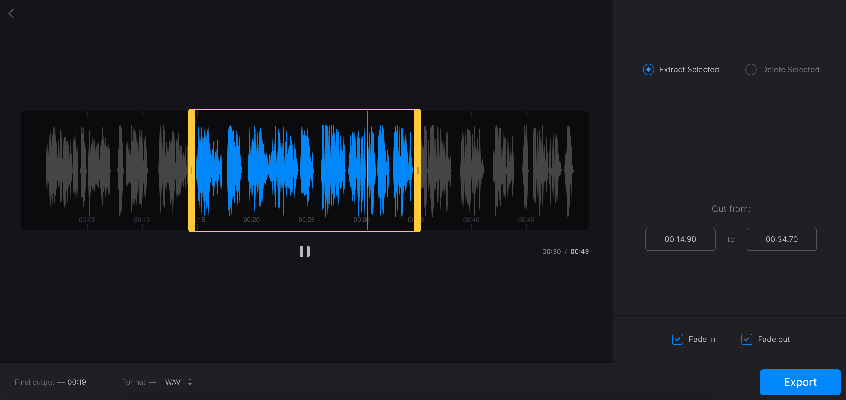 Separate audio from video clip with Clideo