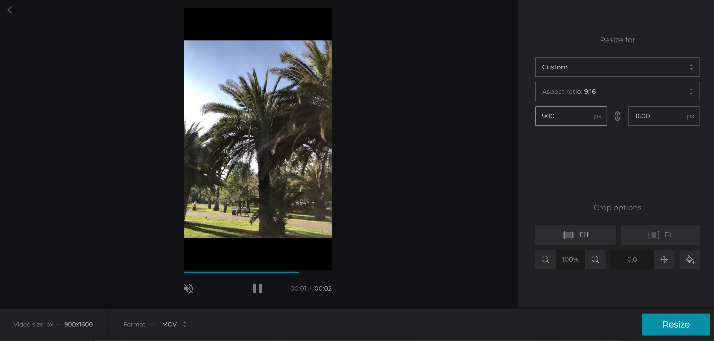 Set aspect ratio for TikTok video
