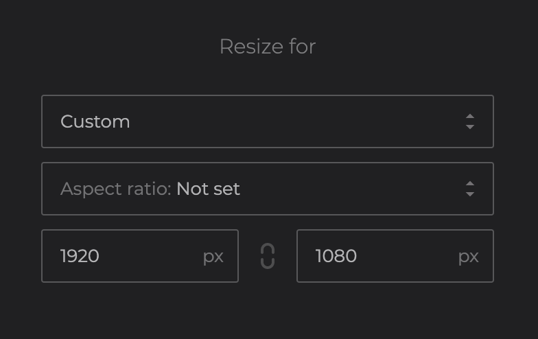 Input width and height for video resizing