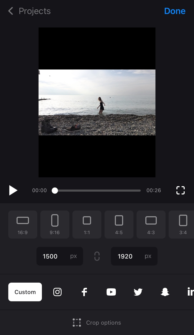 Adjust resolution in Clideo's square app