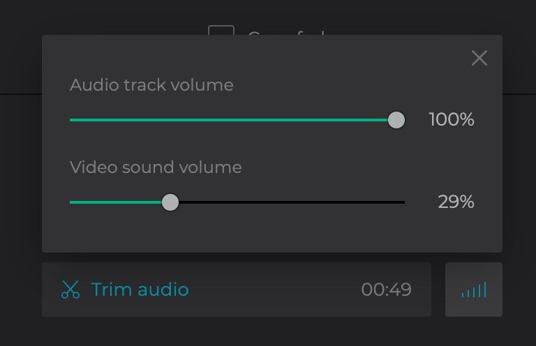 Add an audio track, set the length and volume