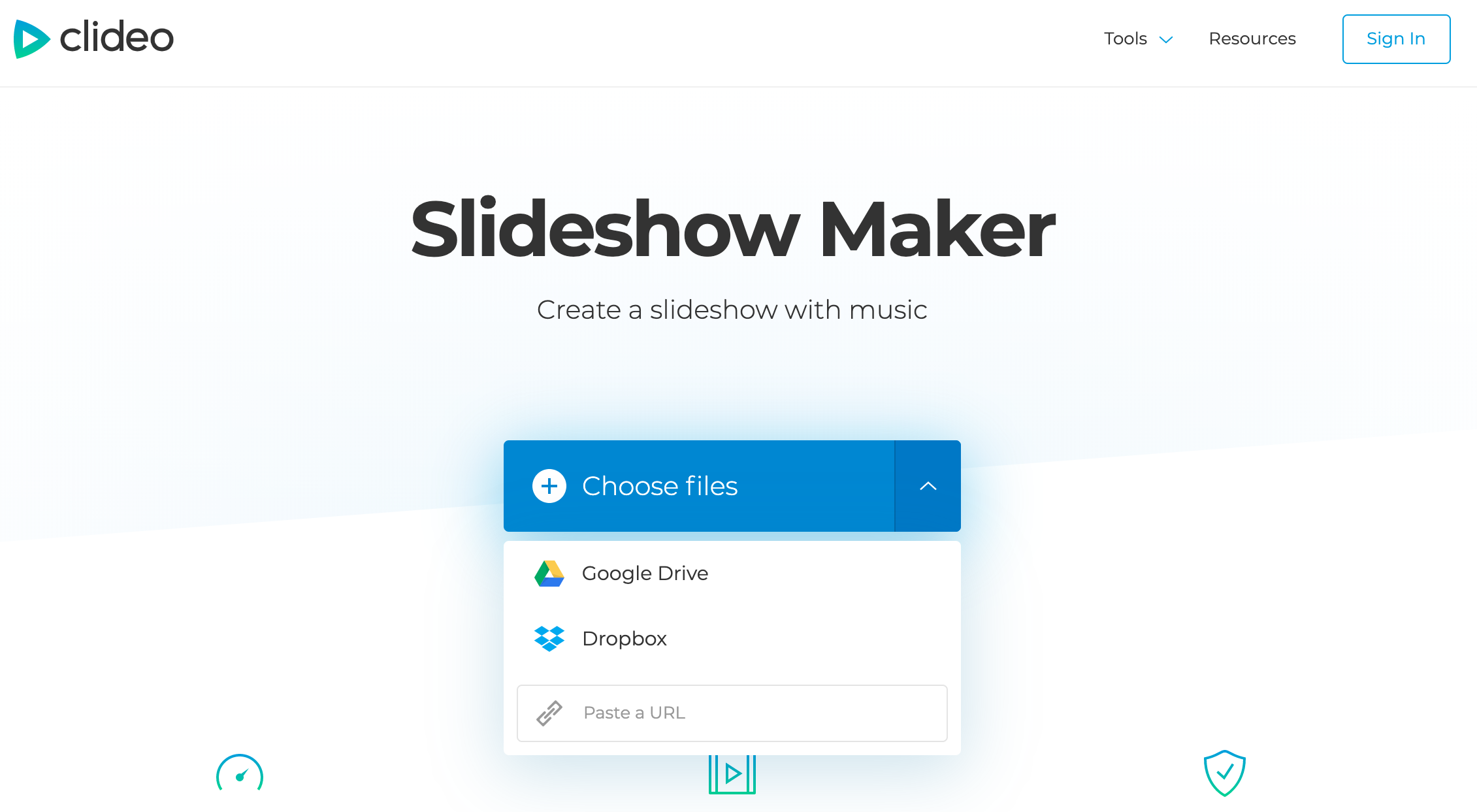 Upload a file to create slideshow