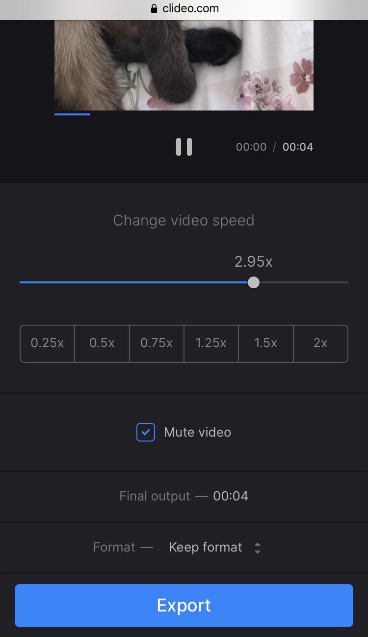 Slow down TikTok video with Clideo