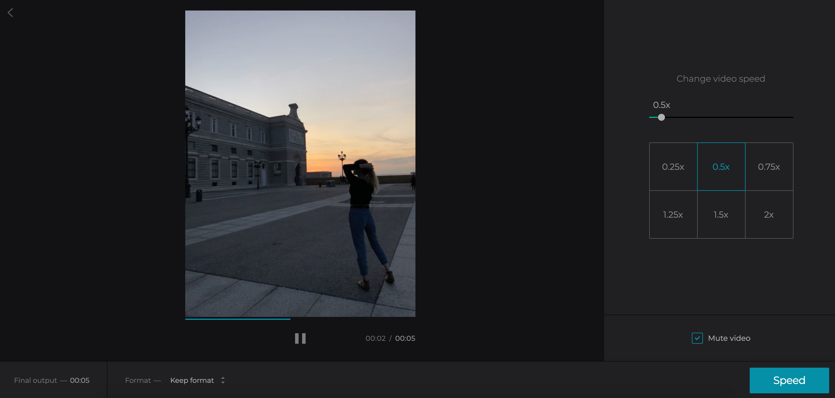 Select the needed video speed for slow motion effect