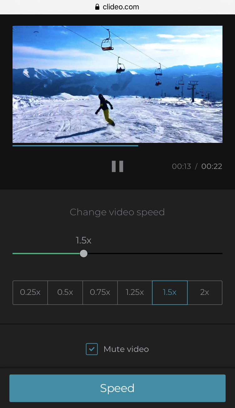 Speed up the video on iPhone