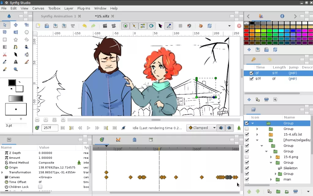 Desktop window of the good 2D animation software Synfig
