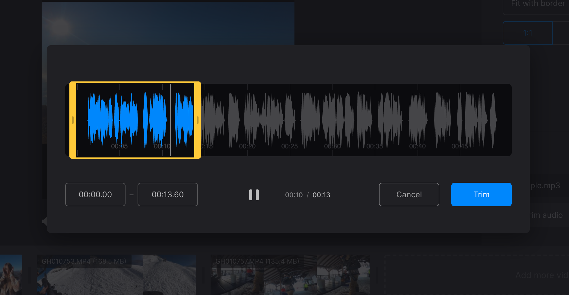Cut audio for YouTube video compilation